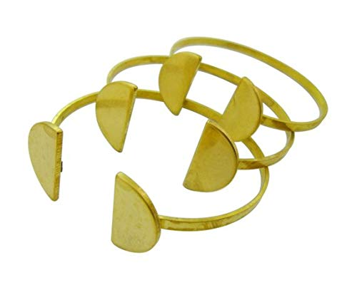 Handmade 4pcs Raw Brass Cuff Half Circle Bracelets Bases Blanks for Setting Embossing Personalized Lead Nickel Chromium Free 0105-0226