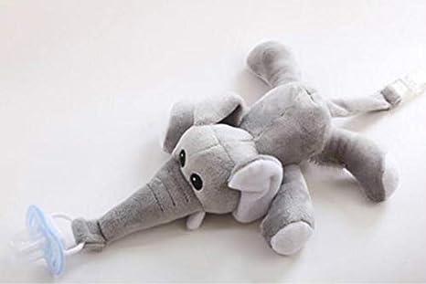 Regalo di Giocattolo neonato elefante in peluche di dentizione clip di ciuccio bambino catena di ciuccio catena Dummy attache-té tine clip 37x16cm grigio Qsoleil