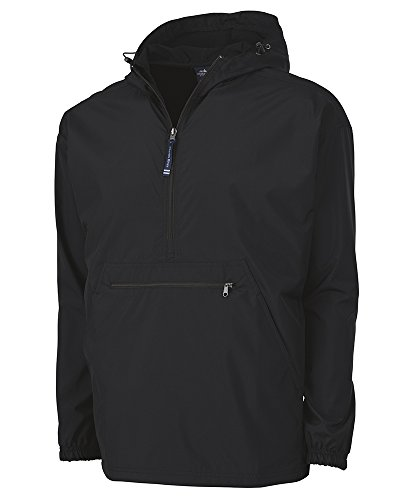 Charles River Apparel Pack-N-Go Wind & Water-Resistant Pullover (Reg/Ext Sizes), Black, -