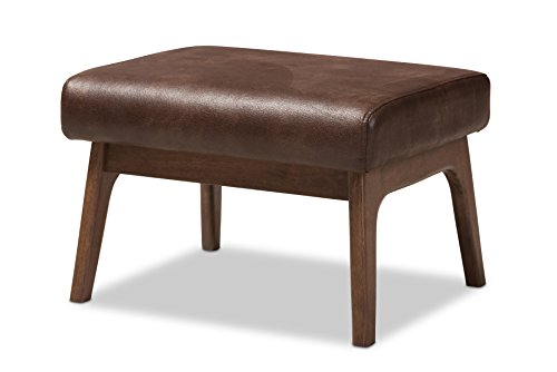 Baxton Studio 424-7547-AMZ Birk Mid-Century Modern Walnut Wood Dark Brown Distressed Faux Leather Ottoman