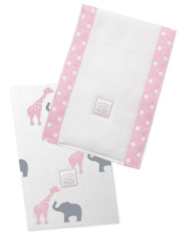SwaddleDesigns Baby Burpies, Set of 2 Cotton Burp Cloths, Pink Safari Fun