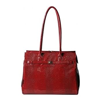 Bark-n-Bag Exotic Line Patent Croco Pet Carrier, Red
