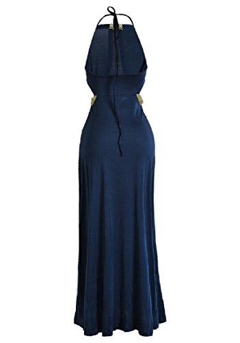 Coolred-femmes Rétro Vintage Licol Sexy Fashional Floral Bleu Marine Robe Longue Dos Nu