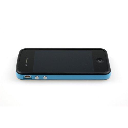 Trend Line Custodia / bumper per iPhone 4 - Nero / Blu + 1 Pellicola di protezione per il display trasparente per la parte anteriore e protezione display per la parte posteriore (Matte/ Anti-Glare)