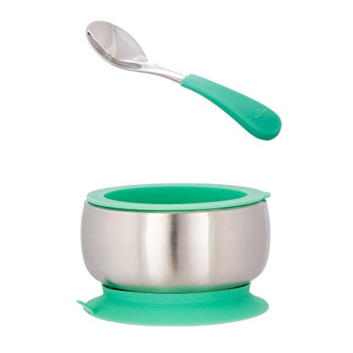 Avanchy Stainless Steel Baby Bowl with Spoon + Air Tight Lid Combo, Toddler, Kid, Child Suction Bowl + Spoon. 18/8, BPA Free, BPS Free, Lead Free and Phthalate Free. (Baby, Green)