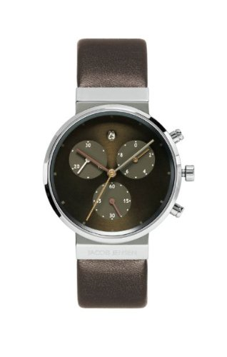 Jacob Jensen 614 Chronograph Series Titanium Case Brown Dial Brown Leather Band Women's Watch