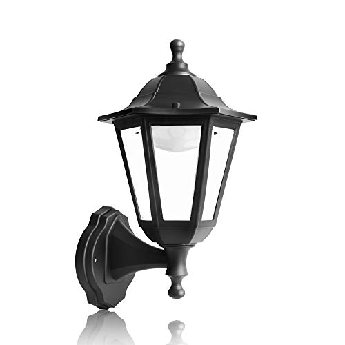 FUDESY Traditional LED Outdoor Wall Lantern with 10W 28 Lifetime LED Chips, Black Polypropylene Plastic Porch Lamp with Clear Acrylic Lenses, Waterproof Porch Light Fixtures,P616-LED