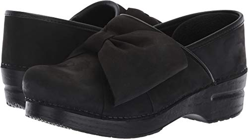 Bow Clog (Dansko Women's Pro Bow Clog Black Milled Nubuck 38 M EU (7.5-8 US))