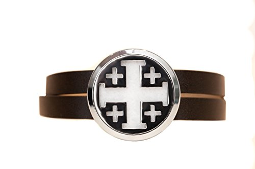 The Oil Collection Stainless Steel Aromatherapy Diffuser Wrap Bracelet (Black Leather - Cross) (Healing Add At Home In 30 Days)