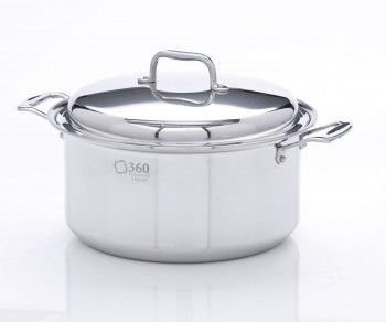 360 Cookware Stainless Steel Stockpot with Cover, 8-Quart