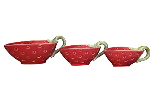 (Creative Co-op Stoneware Strawberry Shaped Handles (Set of 3 Sizes) Prep Bowls, Red)