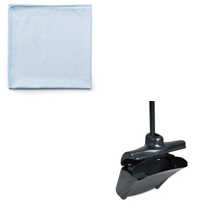 KITRCP253200BLARCPQ630 - Value Kit - Rubbermaid-Black Lobby Pro Upright Dust Pan With Self Opening/Closing Cover (RCP253200BLA) and Rubbermaid Reusable Cleaning Cloths (RCPQ630)