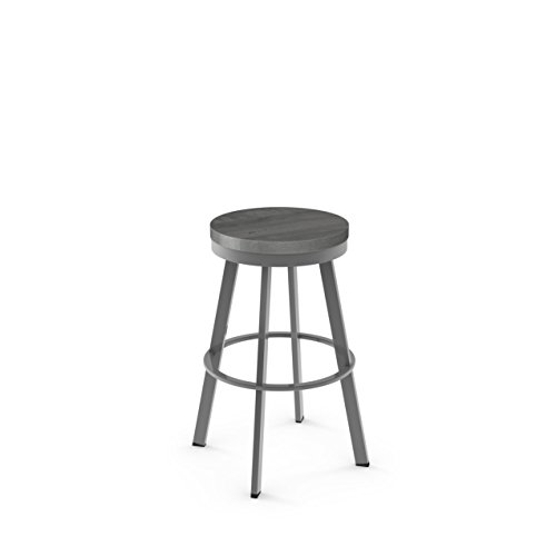 (Amisco Warner Swivel Metal Counter Stool in Glossy Grey Metal and Light Gray Distressed Wood)