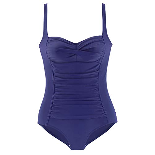 Pengy Women One Piece Swimsuits Hanging Neck Swimwear Push Up Padded Bikini Swimsuit for Ladies Surfing Dark Blue ()