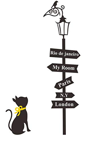 SOWRNA Animal Series Cat Looking At the Street Lamp Removable Vinyl Wall Art Decals, 33 X 19-Inch, Black & Yellow