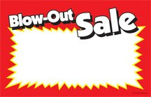 CYA214 Blow-Out Sale Retail Price Cards Signs - Red and Yellow Pack of 100 Cards (7