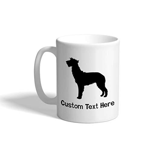 (Custom Funny Coffee Mug Coffee Cup Scottish Deerhound Silhouette White Ceramic Tea Cup 11 OZ Personalized Text Here)