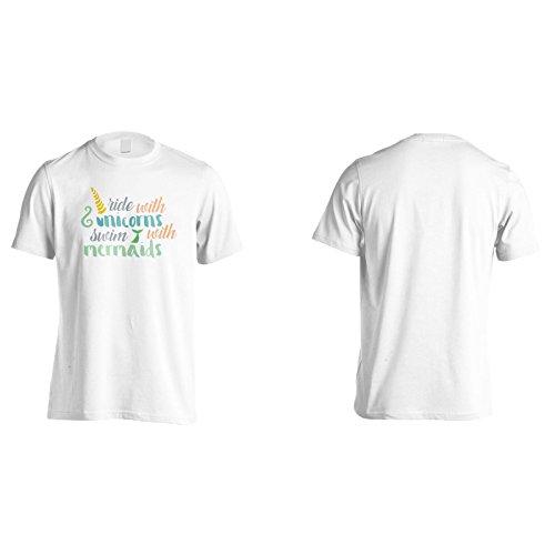 Reiten Mit Einhörnern Mit Meerjungfrauen Schwimmen Herren T-Shirt n786m