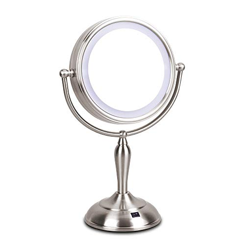 Face Angle Adaptor - LED Makeup Mirror - 7.5 Inch Lighted Vanity Mirror, 1x/10x Magnifying Double Sided Mirror With Stand, AC Adapter Or Battery Operated, Natural White Light, Cord Or Cordless