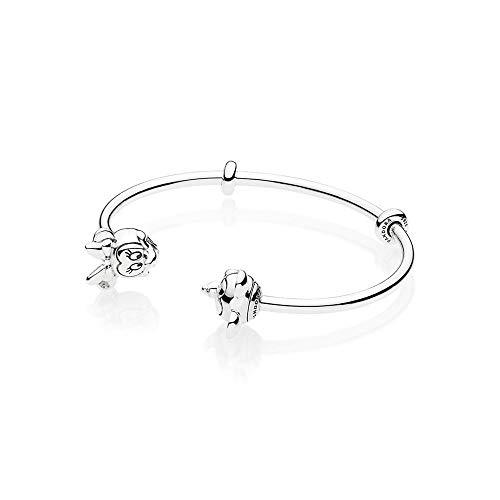 PANDORA Disney Mickey & Minnie Open 925 Sterling Silver Bangle Bracelet, Size: 16cm, 6.3 inches - 597494-1