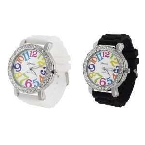 2 Pack White and Black Geneva Women's Large Round Face Silicone Rainbow Numbers Watch - Watch Large Face