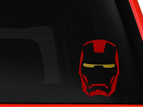 Iron man mask Avengers Marvel superhero Hulk Captain America car truck SUV window laptop Kitchen wall macbook decal sticker Approx 6 inches Red with Gold Eyes