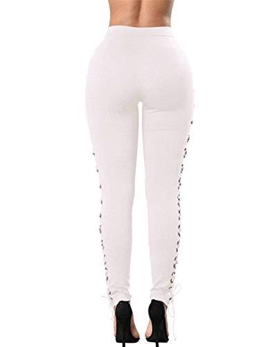 Avec Poches Décontracté Solides Skinny De Sangles Casual Stretch Femmes Croisées Blanc Boucle Haute Pantalon Dame Crayon Couleurs Jeans Taille Métal pRUax1Twqw