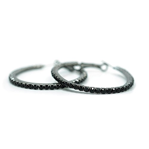 Teri's Boutique Black Crystal Rhinestone Gunmetal Classic Round Hoop Woamn Fashion Jewelry Earring (1.7inch)