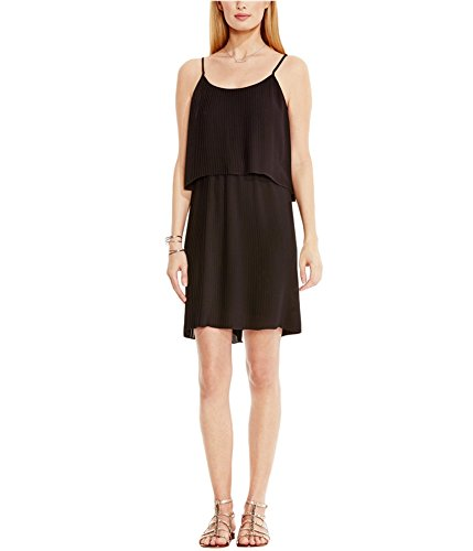 Dress Vince Pleated (Vince Camuto Women's Pleated Popover Tank Dress, Rich Black, Large)