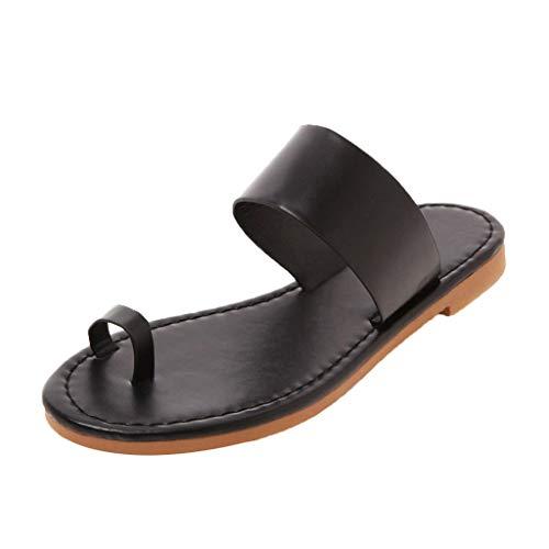 Summer Women's Non-Slip flip Flops Fashion Bohemian Sweet Sandals Flat Roman Beach Casual Slippers Black (Bongo Sandals Womens)