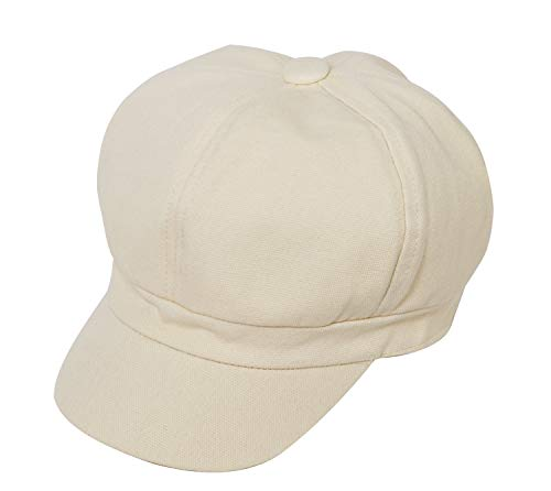 Bellady Women's Cabbie Visor Beret Gatsby Ivy Caps Beret Hat Newsboy Cabbie Plain Hat,Beige Style 3 -