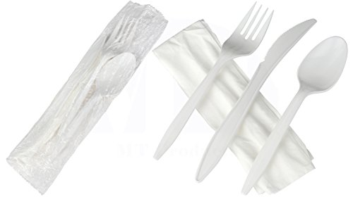 Individually Wrapped Medium Weight White Plastic Cutlery