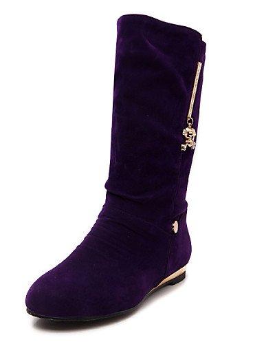 De Uk6 Redonda Trabajo Vestido Punta Uk5 Plano Cn39 us7 Eu39 5 Eu38 Cn38 Oficina Ante Tacón Uk Black Exterior Zapatos Mujer Sintético Purple us8 Botas Y Xzz 5 Casual Cerrada wRxOq5Y7