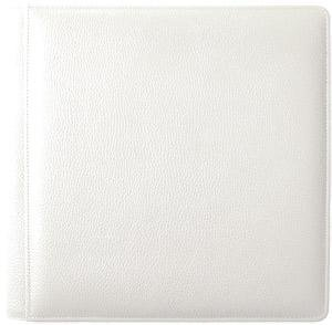 WHITE-WHITE grain leather #105 album with 5-at-a-time pages by Raika® - 4x6 by Raika®