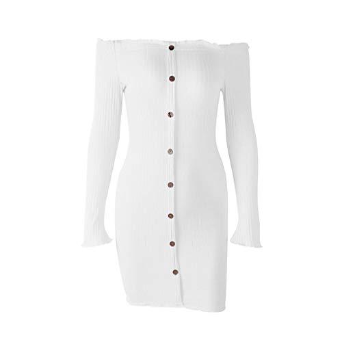 (kdhgo Fashion Women Knit Dress Long Sleeve Solid Color Bandeau Bustier Strapless Beach Dress One Shoulder Mini Dress(X-Large,White))