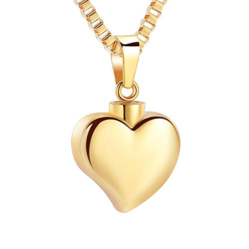 XSMZB Cremation Jewelry for Ashes Always in My Heart Urn Necklaces for Ashes Stainless Steel Keepsake Memorial Pendant Locket (Gold)