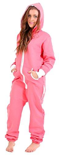 Juicy Trendz Ladies Women's Onesie Hoodie Jumpsuit All In One Piece Pink Small