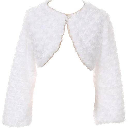 BNY Corner Big Girl Faux Fur Dress Coat Flower Girl Bolero Jacket Winter White 14 GG J107 ()