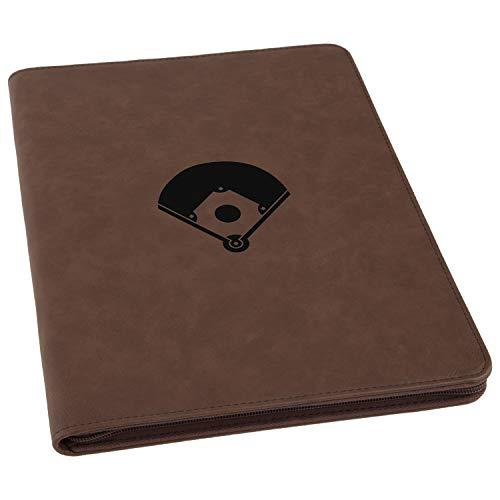 Portfolio Baseball - Baseball Diamond Engraved Leather Executive Business Portfolio with Notepad, Document Holder