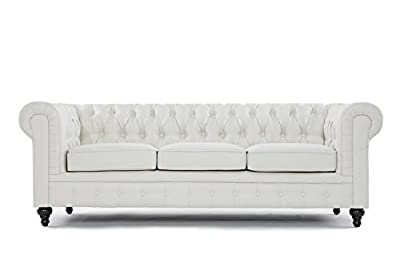 Classic Scroll Arm Tufted Button Chesterfield Style Sofa (Ash Gray, Beige, Light Gray and Rust, Sofas)