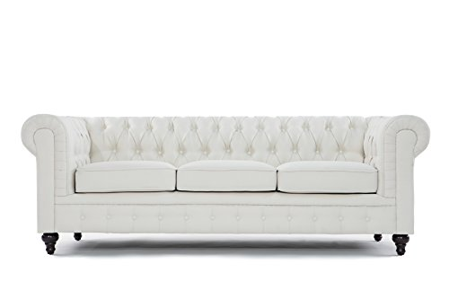 BD Home Furnishings Classic Scroll Arm Button Tufted Chesterfield Style Sofa - Beige (Linen Tufted Couch)