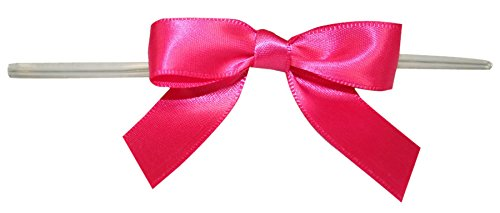 100 Twist - Reliant Ribbon 100 Piece Bow 2.5 Span X 1.75 Tails Twist Tie Ribbon, Shocking Pink, 5/8