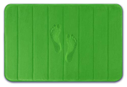 Yimobra Original Memory Foam Bath Mat Large Size 31.5 by 19.8 Inch,Maximum Absorbent,Soft,Comfortable,Non-Slip,Thick,Machine Wash,Easier to Dry for Bathroom Floor Rug,Moss - Foam Green Bath