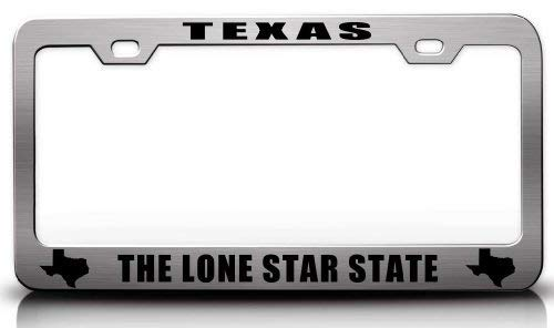 ASUIframeNJK License Plate Covers Texas The Lone Star State Texas Map Style Steel Metal License Plate Frame Ch # - Eagle License Lone Frame Plate