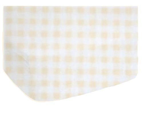 Fitted Oval Crib Sheet (Stokke Sleepi) - Cream Gingham Jersey Knit - Made In USA