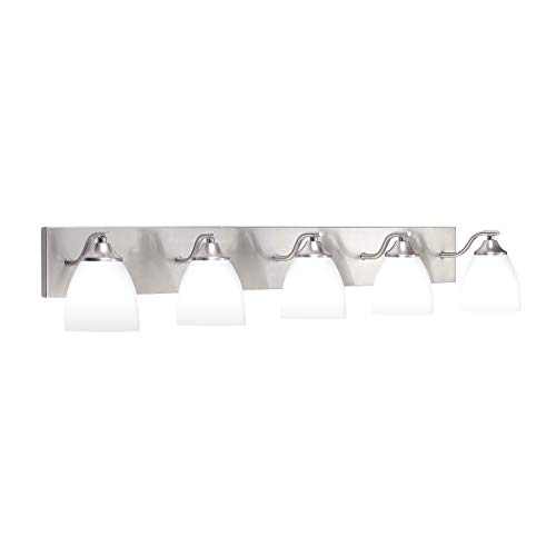 OSTWIN 5-Light Bath Bar Light Up or Down, Interior Bathroom Vanity Wall Lighting Fixture VF42, 5x60 Watt E26 Socket, Satin Nickel Finish with Opal Oval Cone Glass Shade, UL Listed