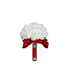 Naisidier Wedding Bouquets Rhinestones Roses Bridal Bridesmaid Wedding Hand Holding Bouquet Artificial Flowers Toss Bouquet Red 96