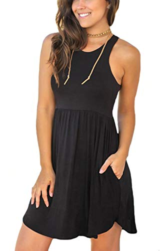 Unbranded* Women's Sleeveless Loose Plain Dresses Casual Short Dress with Pockets Black Small ()