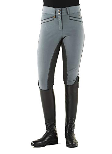 Ovation 467847 Women's Celebrity Slim Secret EuroWeave DX Front Zip Full Seat Breeches, Grey, Size: 34 Regular