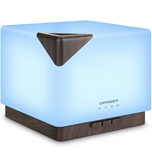 URPOWER 700ml Square Aromatherapy Essential Oil Diffuser Humidifier Large Capacity Modern Ultrasonic Aroma Diffusers Running 20+ Hours 7 Color Changing for Home Baby Bedroom Office Study Yoga Spa from URPOWER